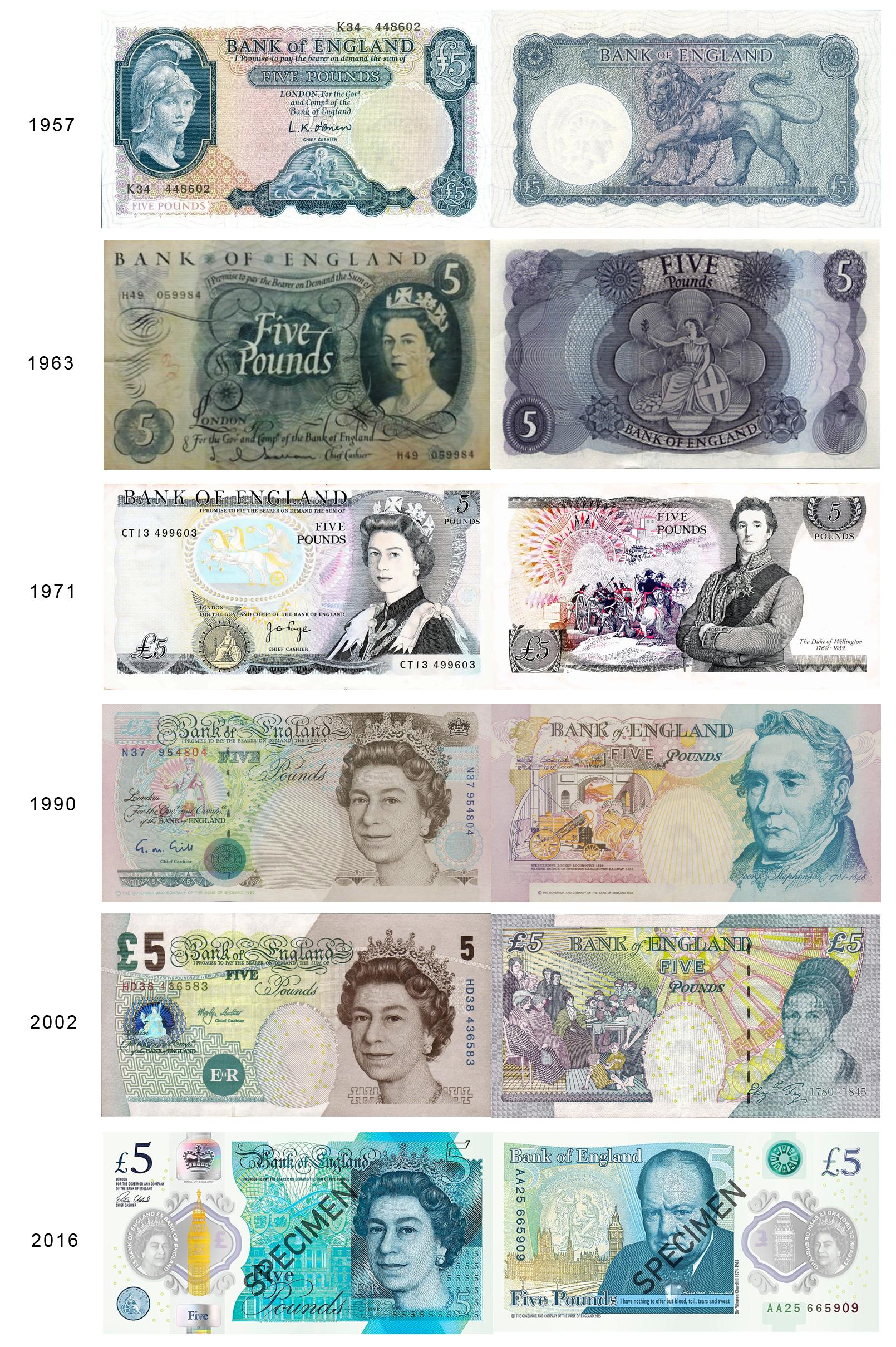 Ewolucja banknotu 5 funtowego 1963 - 2016 r. Źródło: www.bankofengland.co.uk, kompilacja Enemy